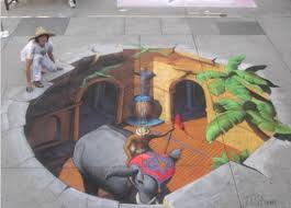 3-D effect street painting