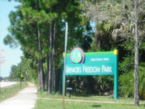 Greenacres Freedom Park sign
