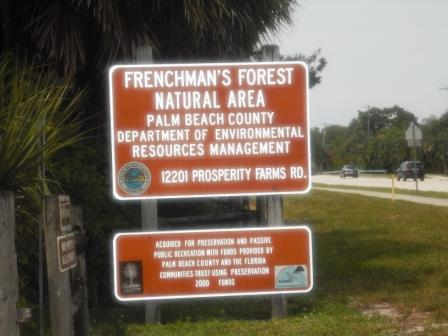 Frenchman's Forest Natural Area entry sign