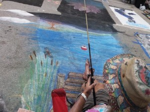 Man fishing Lake Worth Street Painting 2019-640x480